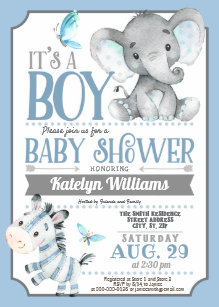 Baby boy shower invitations zazzle boy elephant and zebra baby shower invitation filmwisefo