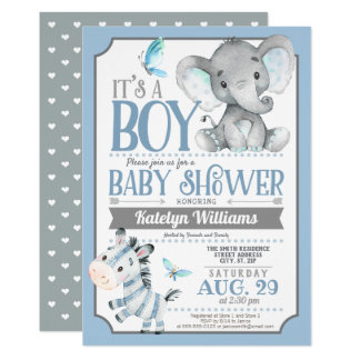 Boy Elephant and Zebra Baby Shower Invitation