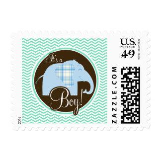 Boy Elephant; Aqua Green Chevron Stamp