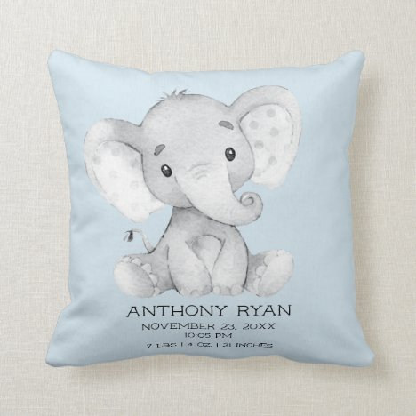 Boy Elephant Baby Birth Stats Pillow