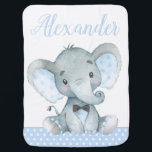 """Boy Elephant Baby Blankets<br><div class=""""desc"""">Boy elephant baby blanket with adorable baby boy elephant on a blue polka dot background. This cute elephant baby blanket is easily customized with the text of your choice. You can also change the background color on this sweet baby boy elephant blanket.</div>"""
