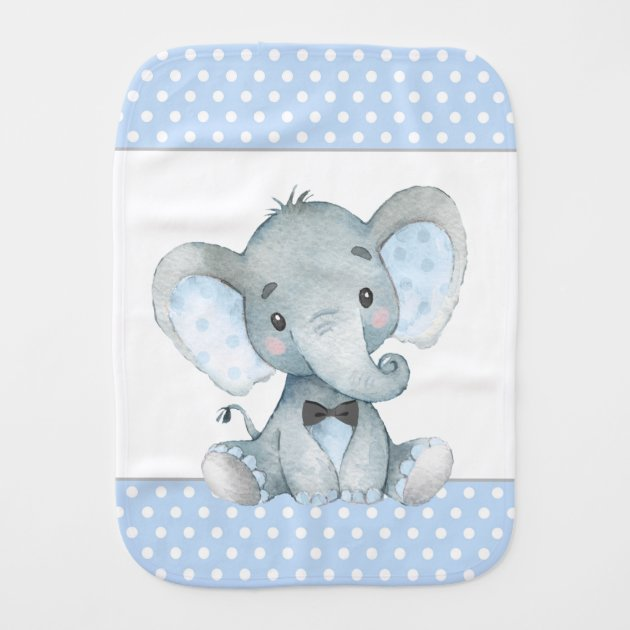 Gray woodland animals and white and gray elephant print two sided burp cloth
