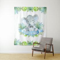 Boy Elephant Baby Shower Backdrop