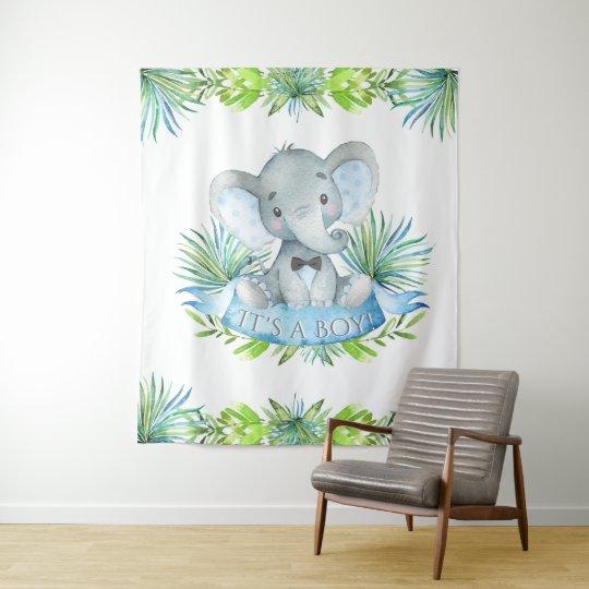 Boy Elephant Baby Shower Backdrop Zazzle