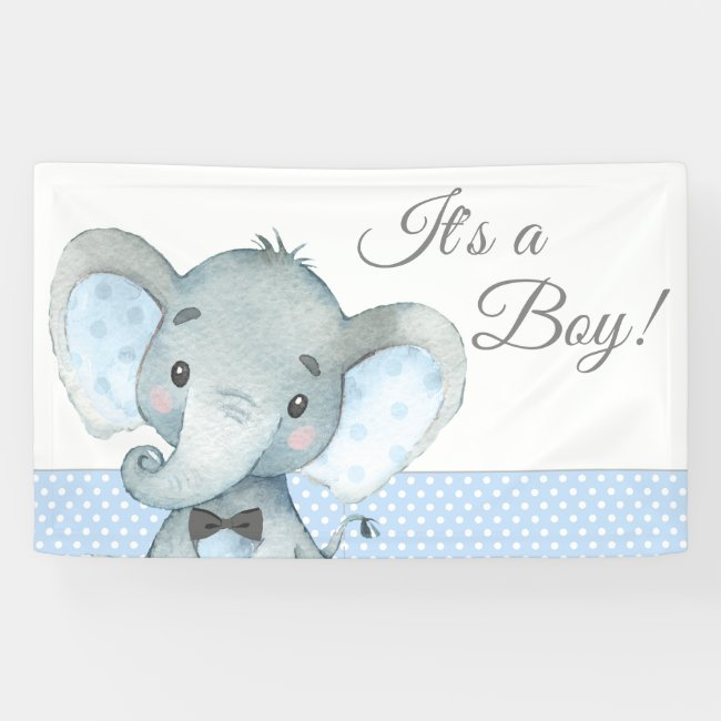Boy Elephant Baby Shower Banners