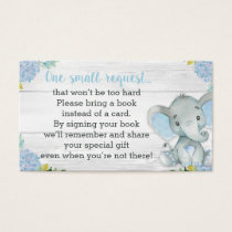 Boy Elephant Baby Shower Book Request Card