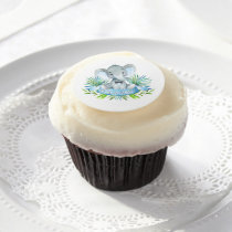 Boy Elephant Baby Shower Cupcake Topper Frosting Edible Frosting Rounds