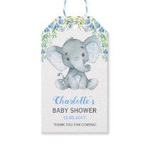 Boy Elephant Baby Shower Floral Favor Gift Tag