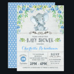 "Boy Elephant Baby Shower Invitation Blue Floral<br><div class=""desc"">Boy Baby shower invitation featuring an adorable watercolor elephant surrounded with blue flowers and green leaves</div>"