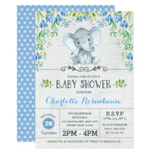 Boy Elephant Baby Shower Invitation Blue Floral