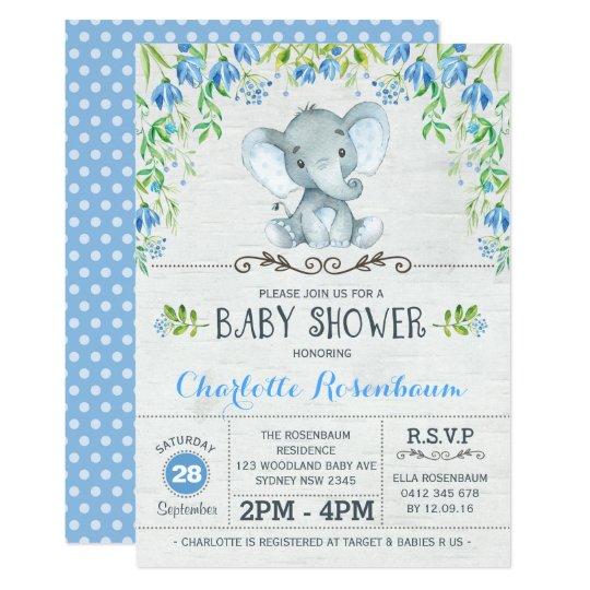 Boy Elephant Baby Shower Invitation Blue Floral   Zazzle.com