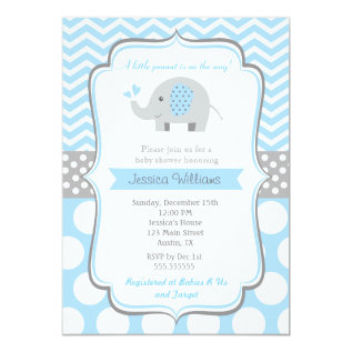 Boy Elephant Baby Shower Invitations at Zazzle