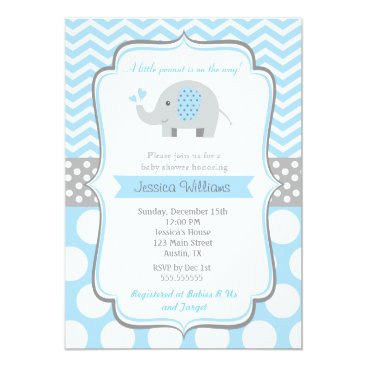 Toddler & Baby themed Boy Elephant Baby Shower Invitations