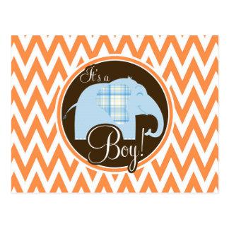 Boy Elephant Baby Shower Orange and White Chevron Postcard