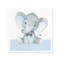 Boy Elephant Baby Shower Paper Napkins