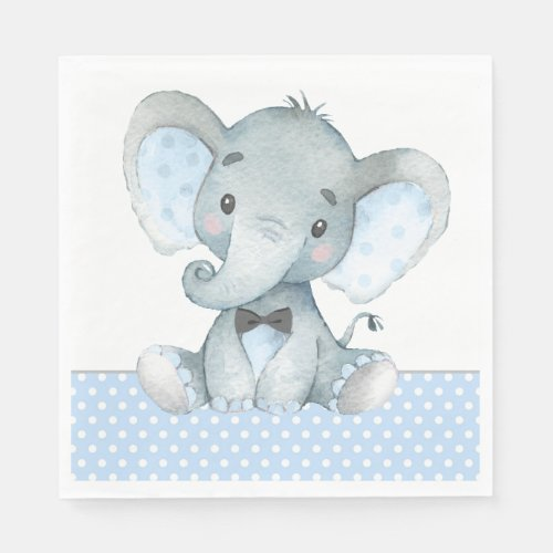 Boy Elephant Baby Shower Paper Napkins