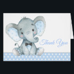"Boy Elephant Baby Shower Thank You Cards<br><div class=""desc"">Boy elephant baby shower thank you cards with adorable baby boy elephant wearing a bow tie on a blue polka dot background. These cute elephant thank you cards can be customized with your printed message inside,  or leave them blank for your handwritten message.</div>"