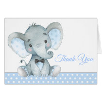 Boy Elephant Baby Shower Thank You Cards
