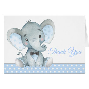 Beautiful Boy Elephant Baby Shower Thank You Cards