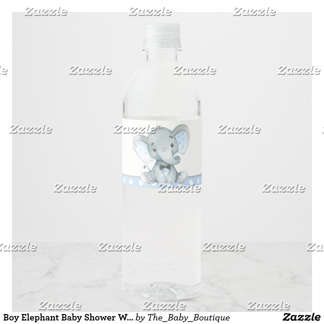 Boy Elephant Baby Shower Water Bottle Labels