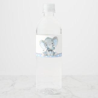 Boy Elephant Baby Shower Water Bottle Labels