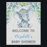 "Boy Elephant Baby Shower Welcome Sign Blue Floral<br><div class=""desc"">Gorgeous baby shower welcome sign featuring an adorable baby elephant boy and elegant blue watercolor flowers Matching items available at out store!</div>"