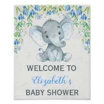 Boy Elephant Baby Shower Welcome Sign Blue Floral