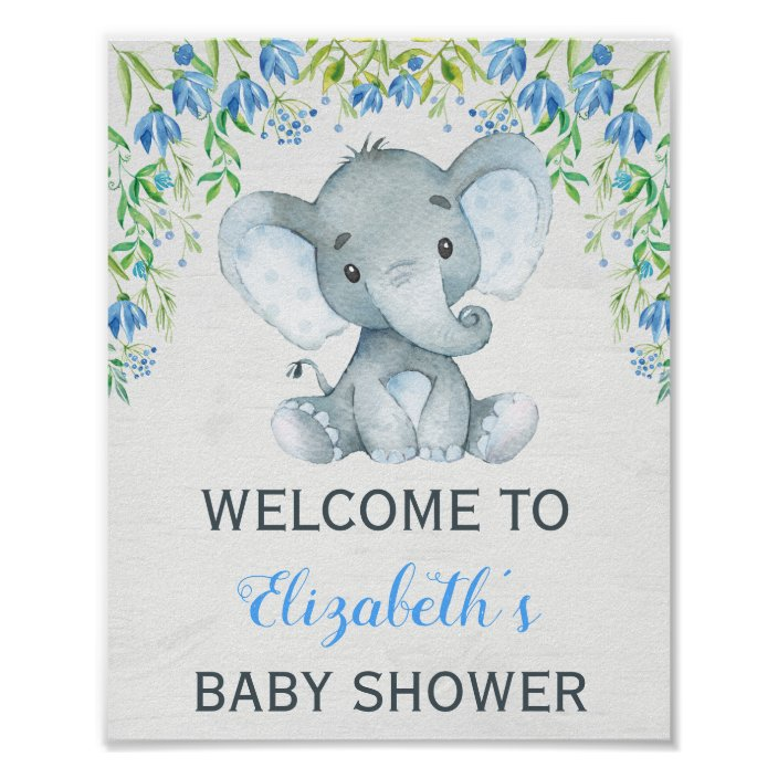 Elephant Baby Shower Welcome Sign Landscape Poster BE1 Baby Boy Africa Animal Printable Floral Shades of Blue Welcome Poster
