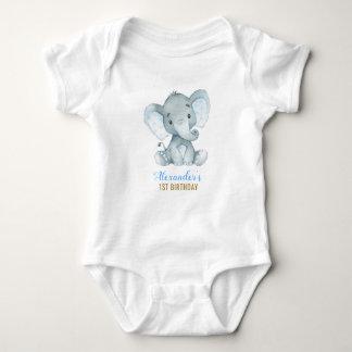 Boy Elephant Blue Bodysuit 1st Birthday Party