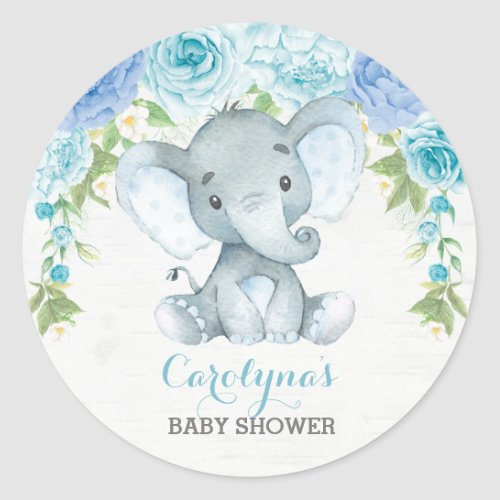 Boy Elephant Blue Rose Peony Baby Shower Favors Classic Round Sticker