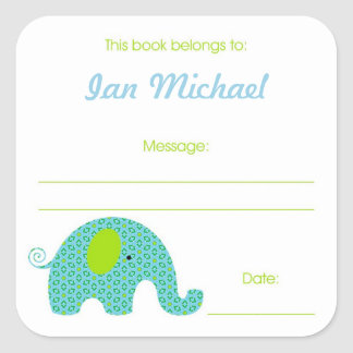Boy Elephant Book Plate with message area Square Sticker