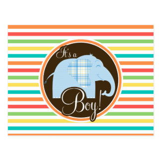 Boy Elephant Bright Rainbow Stripes Post Card
