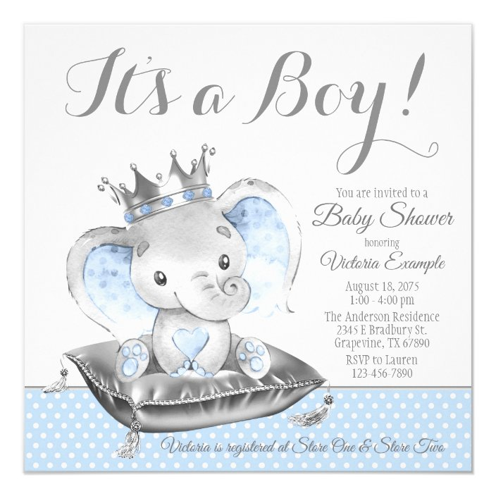 Boy Elephant Prince Baby Shower