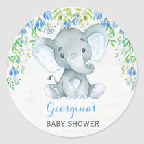 Boy Elephant Thank You Sticker Baby Shower Favors