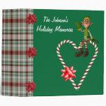 Boy Elf Candy Cane Heart Holiday Binder