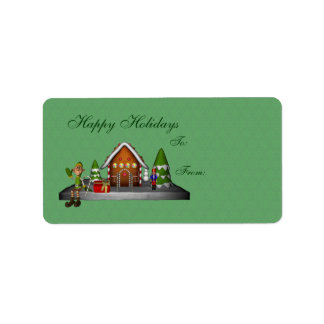 Boy Elf Gingerbread House Holiday Gift Tag Label