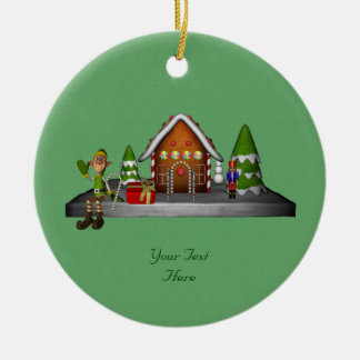 Boy Elf Gingerbread House Holiday Ornament