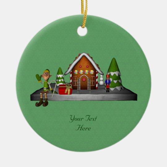 Boy Elf Gingerbread House Holiday Ornament