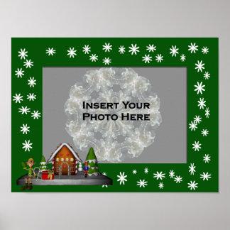 Boy Elf Scene Holiday Frame Add Photo Poster
