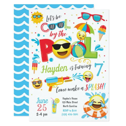Boy Emoji Pool Party Invitation, Summer Birthday Invitation