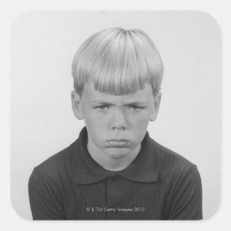 Boy Facial Expressions Square Sticker