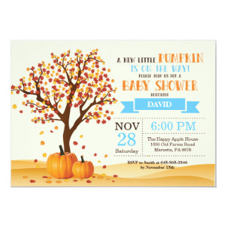 Boy Fall Baby Shower Invitation Card Trees Leaves