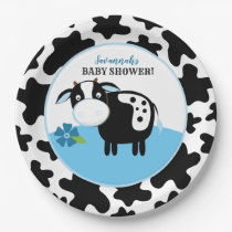 Boy Farm Cow Baby Shower Paper Plates