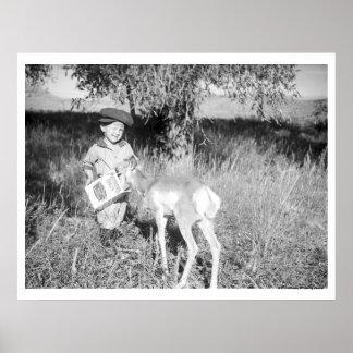 Boy feeding antelope by hand poster