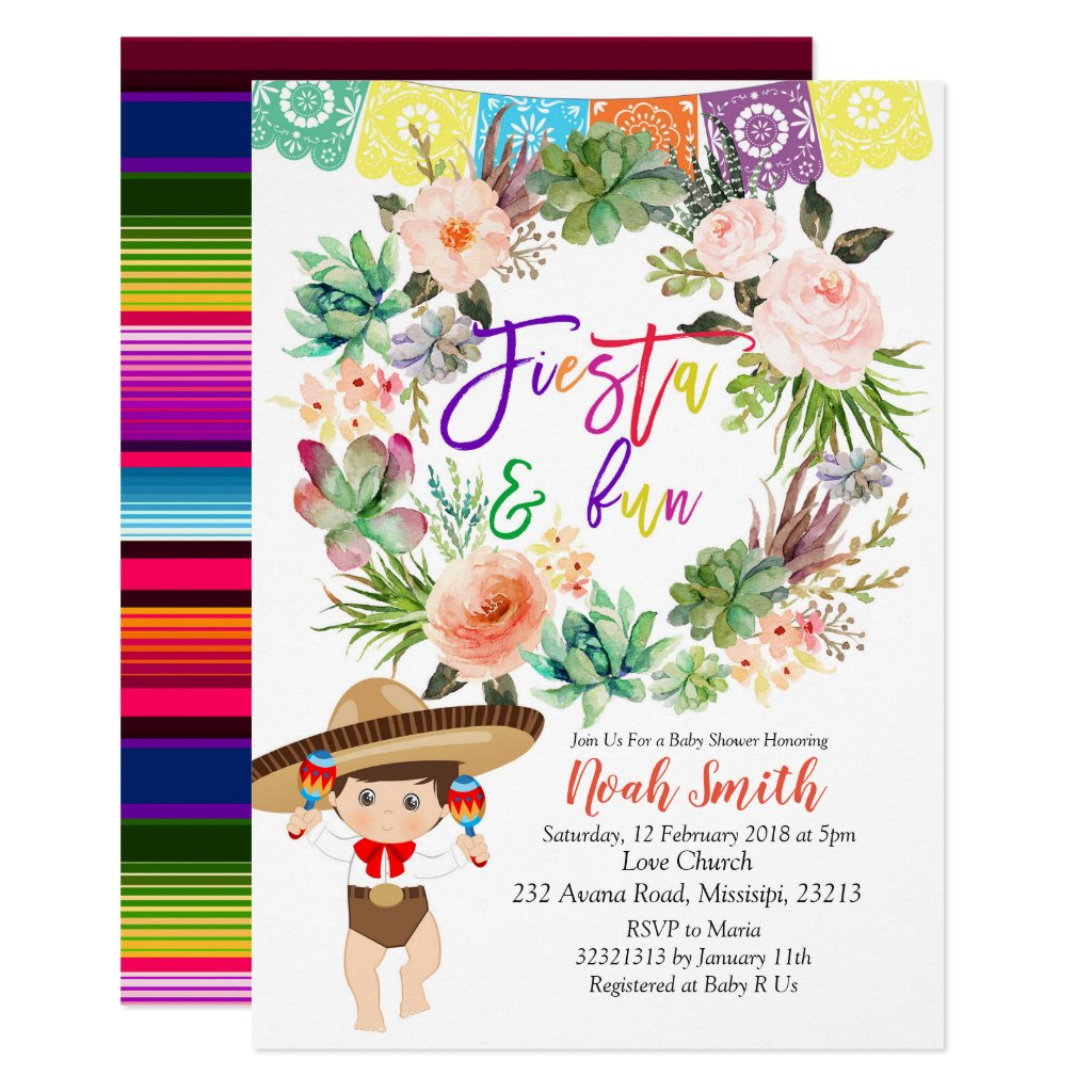 Boy Fiesta Baby Shower Invitation card