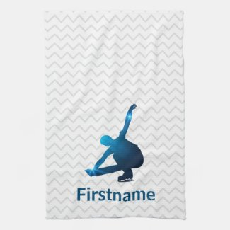Boy Figure Skater Blue star - ice skating towel