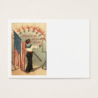 Boy Firecracker Fireworks US Flag Business Card