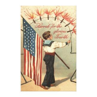 Boy Firecracker Fireworks US Flag Canvas Print
