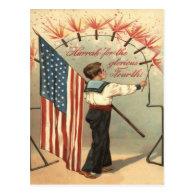 Boy Firecracker Fireworks US Flag Post Card