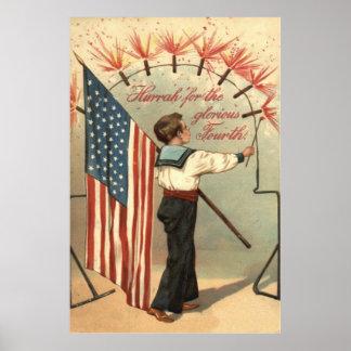 Boy Firecracker Fireworks US Flag Posters